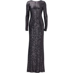 Rental Badgley Mischka Dara Gown (360 BRL) ❤ liked on Polyvore featuring dresses, gowns, formal dresses, silver, long sleeve formal dresses, long sleeve ball gowns, long sleeve formal gowns, long sleeve sequin dress and sequin formal dress