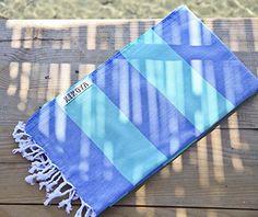 "Cabana Stripe Style 100% Cotton, Pestemal Turkish Towel 39""x70"" Generous Size Turkish Towel Beach Bath Spa Yacht Gym Sport Peshtemal Sarong Hammam Towel Kikoy Fouta (Wave - Blue/Green) Kikoya"