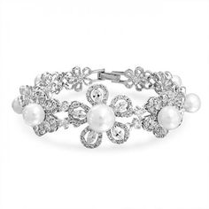 Graduated Flowers Pearl CZ Bridal Bracelet Silver Tone 7in