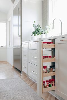 Dura Supreme's Pull-Out Spice Rack. Design by Danielle Lardani of Studio M Kitchen & Bath, Twin Cities, MN. Photo by Chelsie Lopez Production & Marketing. Spice Rack Cabinet Pull Out, Pull Out Kitchen Storage, Kitchen Pulls, Spice Storage, Kitchen Cabinet Storage, Kitchen Cabinetry, Spice Rack Pull Out Drawer, Storage Cabinets, Kitchen Organization