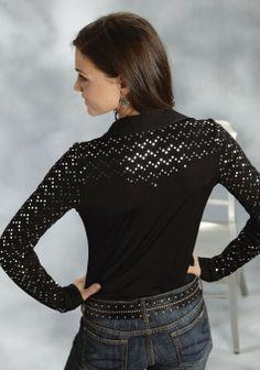 Roper® Ladies Black Sequined Snap LS Western Show Shirt