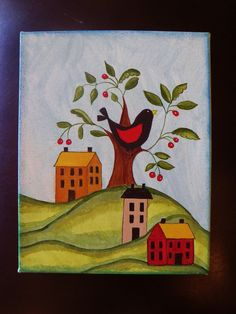 THIS PRINT IS 8X10X2 WRAPPED CANVAS... http://www.etsy.com/listing/119916068/treasury-happy-folk-art-primitive-red