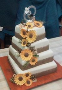 Country Wedding Cake with Burlap, could use rope,ditch the flowers, switch frosting for groom's cake