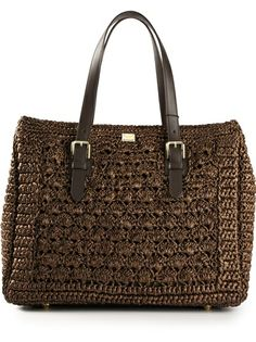DOLCE and GABBANA Woven Raffia Tote Crotchet Bags, Crochet Tote, Crochet Handbags, Knitted Bags, My Bags, Purses And Bags, Designer Totes, Victorian Jewelry, Branded Bags