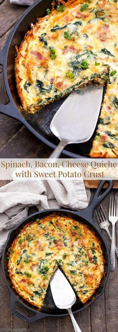 Shredded sweet potatoes are a great alternative to the calorie heavy pie crust in this Spinach, Bacon, Cheese Quiche with Sweet Potato Crust. They add a touch of sweetness to this savory and hearty quiche!