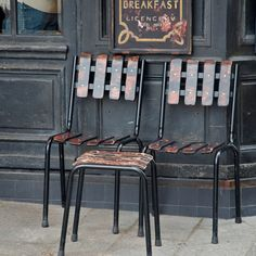 Distressed Chairs at Cafe St.Regis | Patinas of France | Paint + Pattern