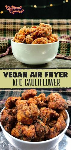 Copycat kfc fried chicken with a vegan twist. Made with air fried cauliflower, this kfc cauliflower recipe is healthy and oil free! Just like the kfc fried chicken, seasoned with 13 spices. Air Fryer Recipes Vegan, Tasty Vegetarian Recipes, Vegan Dinner Recipes, Air Frier Recipes, Whole Food Recipes, Cooking Recipes, Dinner Healthy, Beef Recipes, Easy Recipes