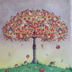 #secretgarden #coloring #coloringbook #adultcoloring #prismacolor #antistress #tree #fall #autumn #johannabasford