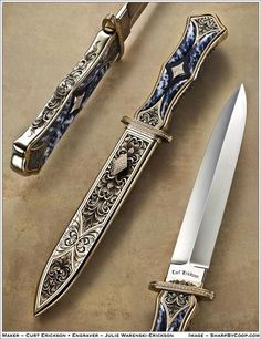 Image shared by rainstormdragon. Find images and videos about knife, dagger and engraving on We Heart It - the app to get lost in what you love. Pretty Knives, Cool Knives, Swords And Daggers, Knives And Swords, Armas Ninja, Dagger Knife, Knife Art, Fantasy Weapons, Custom Knives