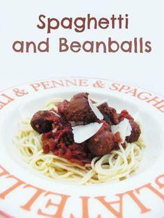 Tinned Tomatoes: Spaghetti and Beanballs Veggie Recipes, Vegetarian Recipes, Healthy Recipes, Pasta Recipes, Veggie Meals, Delicious Recipes, Salad Recipes, Healthy Food, Yummy Food