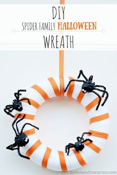 DIY Spider Family Halloween Wreath by pastels & Macarons