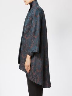 Aganovich jacquard print wide sleeve oversized coat