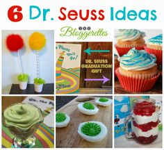 A simple Dr Seuss cupcake idea perfect for your next Dr Seuss party! Collage Simple, 30th Birthday, Birthday Parties, Kid Parties, Dr Seuss Cupcakes, Activities For Kids, Crafts For Kids, Food Crafts, Diy Party Decorations