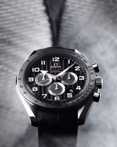 OMEGA Watches: Speedmaster Broad Arrow - Steel on leather strap.