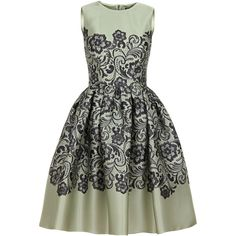 Dolce & Gabbana Mint Green & Black Printed Lace Silk Tulip Dress found on Polyvore