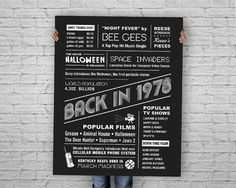 The Year 1978 - DIGITAL Chalkboard Poster, Printable Birthday Chalkboard Sign, Fun Facts 1978, Back in 1978 INSTANT DOWNLOAD