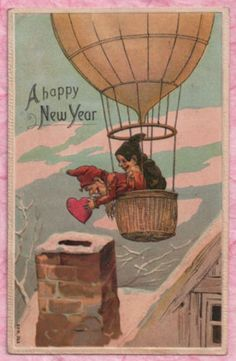 New Year Elf Gnomes Drop Valentine Heart Down Chimney from Hot Air Balloon 1909 | eBay