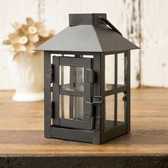 $3.99 Hurricane Lantern, Small 3 x 5.5 inch, Metal with Glass Sides, Door, Black
