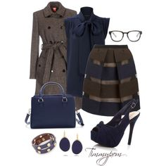 Navy and brown by timmypom on Polyvore featuring French Connection, MICHELLE WINDHEUSER, MANTU, Zara, Tory Burch, Kenneth Jay Lane and Madewell