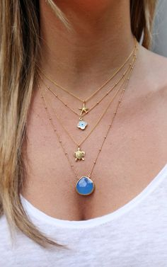 Blue Chalcedony 14k Gold Filled Necklace by shopkei on Etsy, $52.00