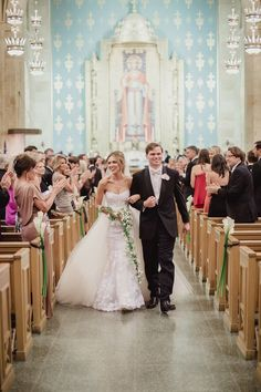 Modern Black-and-White Wedding with Southern Traditions in Dallas #church #wedding