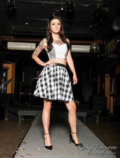 Mixed Print Sweetheart Crop Top in Black & White Check and Polka Dot / Checkered Skirt with Satin Tie