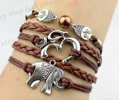 Brown pearl cute elephant yoga owl bracelet with brown strap brown leather woven fashion bracelet braided bracelet pearl bracelet-Q571