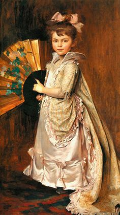 Girl With Fan by Albert Aublet (1851 – 1938, French)
