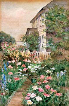 Carroll Butler Brown (1868-1923) : A Nantuckert Flower Garden (signed : 53x37 cm)