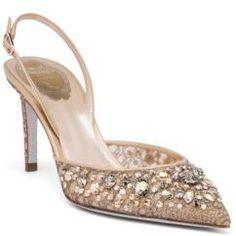 Rene Caovilla Swarovski Crystal-Embellished Lace Slingbacks #bridalshoes #wedding