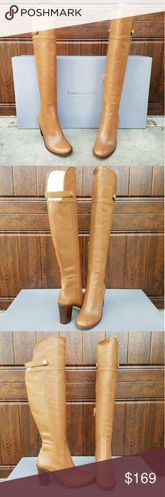 "Gorgeous OTK Boots by Louise et Cie A sleek, streamlined silhouette elevates an essential over-the-knee boot cut from rich, lightly-glazed leather and set on a stable half-moon heel. The color is saddle & these are new with box.  -3 1/2"" heel (size 8.5) -21 1/2"" shaft; 15"" calf circumference -Inset side-zip closure Louise et Cie Shoes Over the Knee Boots"