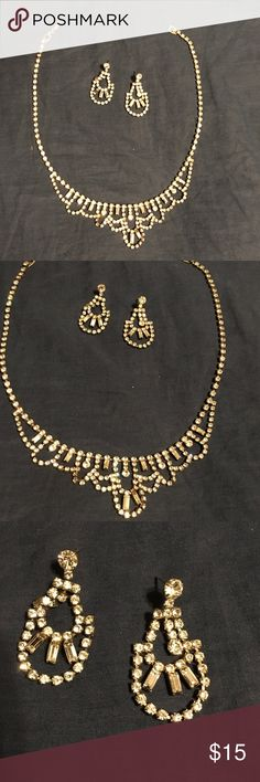 Costume Rhinestone Jewelry Set Necklace and earrings set. Earrings need backs for them and necklace is missing one stone look at 4th photo center design should be 3 stones and one rhinestone above that is missing as well Jewelry Necklaces