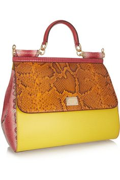 Dolce & GabbanaSicily large textured-leather, lizard, ayers and python tote  Beutif  beautiful combi!