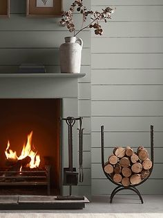 Wood & Metal Four Piece Fireside Set Indoor Log Holder, Indoor Log Storage, Fireplace Accessories, Home Decor Accessories, Wood Holder For Fireplace, Living Room Green, Selling Furniture, Scandinavian Furniture, Wood Interiors