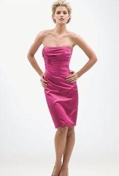 Discount Satin Strapless Beaded Neckline A-Line Short Bridesmaid Dress Free Measurement