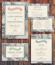 Travel-themed wedding invitaitons for the adventurous couple | Ways to Use Maps and Globes in Your Wedding Decor