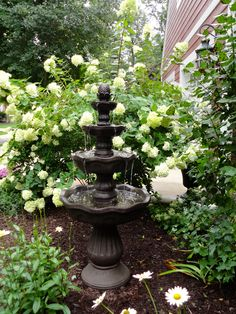 Garden Water Fountain In Front Landscaping