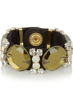 Twill, leather & crystal bracelet