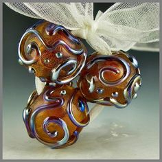 handmade lampwork glass beads set of 3 round amber dichroic raised Aurae stringer - Golden Trio $21