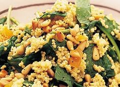 Millet with Spinach and Pine Nuts - serve as a room temp. Indian Food Recipes, New Recipes, Vegetarian Recipes, Cooking Recipes, Favorite Recipes, Healthy Recipes, Ethnic Recipes, Lunches And Dinners, Meals