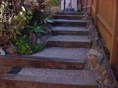 Garden Steps With Railroad Ties - Modern Outdoor Steps, Patio Steps, Garden Steps, Garden Paths, Gravel Garden, Fence Garden, Railroad Ties Landscaping, Outdoor Landscaping, Outdoor Gardens