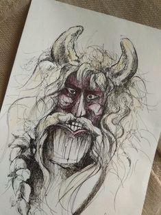 busómaszk, mask 'busó', Mohács, Busójárás Techno, Watercolor Tattoo, Tattoos, Drawings, Art, Hungary, Art Background, Tatuajes, Tattoo