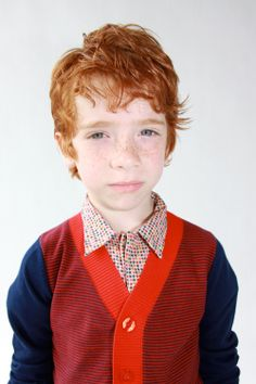 Red-dark blue boys cardigan - Kik-Kid