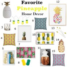 The best of the best in pineapple home decor - pillows, art, lights, accessories, trays, bookends, glassware, barware Gail Wright at Home