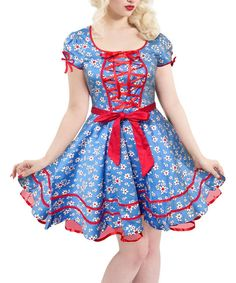 Look at this Voodoo Vixen Blue & Red Floral A-Line Dress on #zulily today!