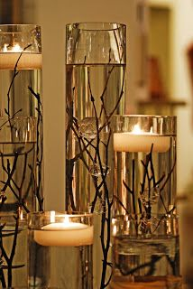 Like this idea for floating candles... thinking they could end up on my holiday table!