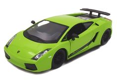 Lime green Lamborghini Gallardo diecast model car by Bburago.