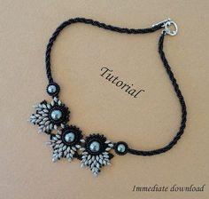 PDF for beadwoven necklace beading turorial - beadweaving beading pattern beaded super duos bead jewelry - ELADVEN by SM66
