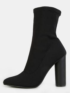 Cylinder Heel High Shaft Boots BLACK
