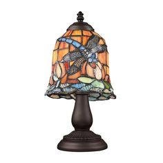 Tiffany Dragonfly 1 Light Table Lamp In Tiffany Bronze